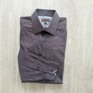 Ben Sherman BL/BRN/GRY Striped Dress Shirt SZ 16